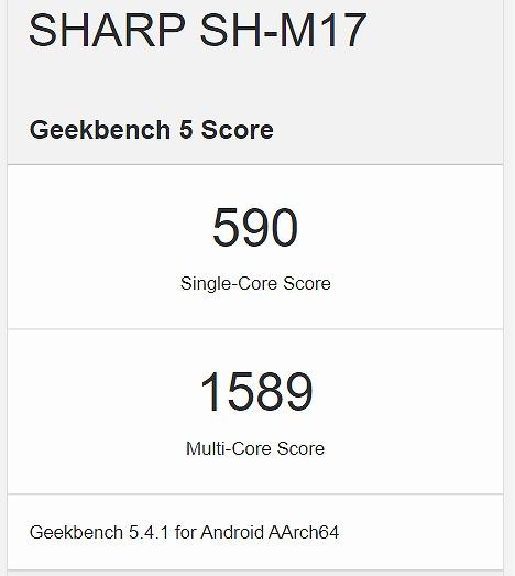 au SHG03 AQUOS sense5G Geekbench ベンチマークスコア