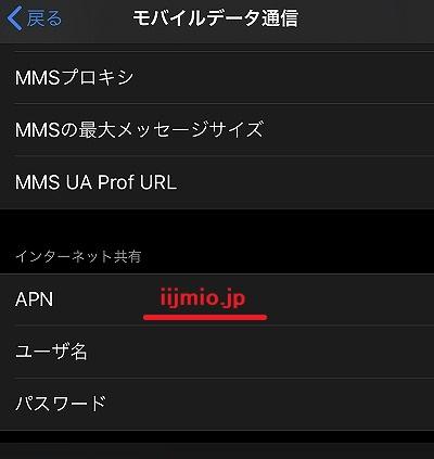 IIJmio iPad インターネット共有 テザリング