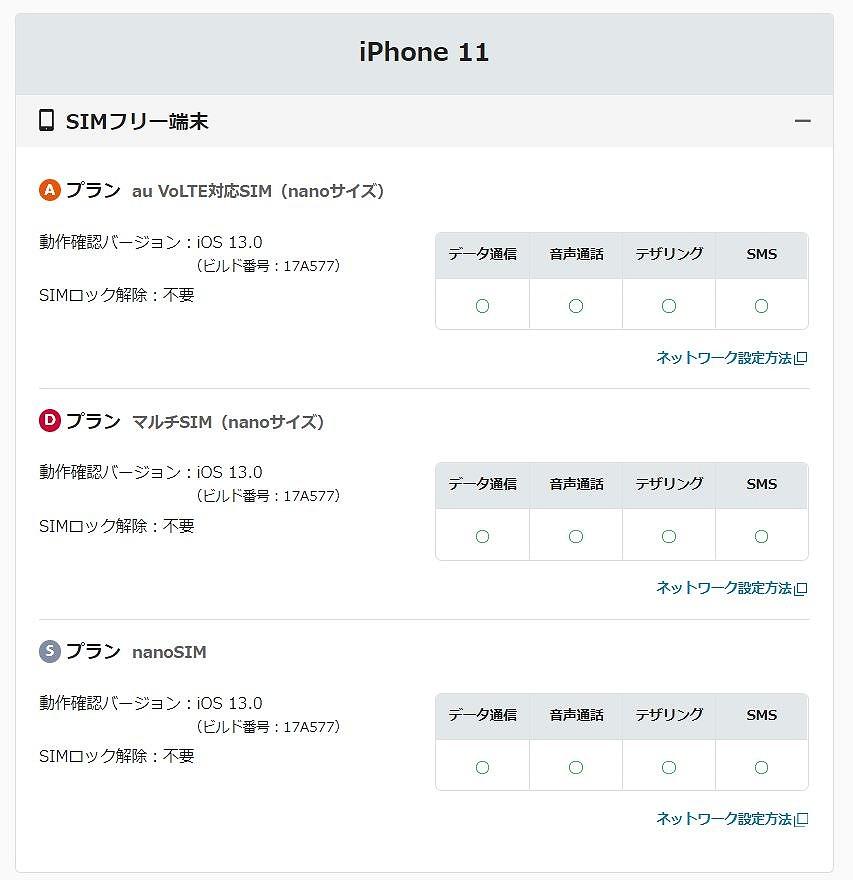 マイネオ_iPhone11動作確認状況