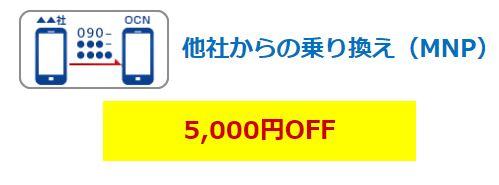 OCNモバイルONE端末セット5000円割引
