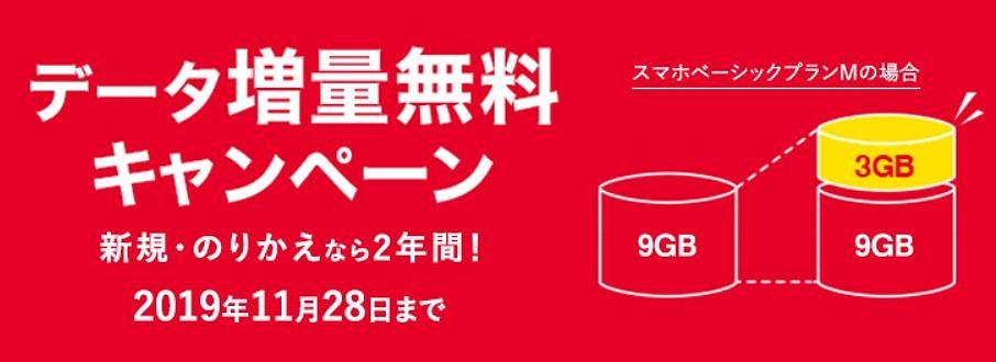 ワイモバイルデータ増量無料キャンペーン