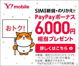 ワイモバイル SIM契約時 PayPay還元