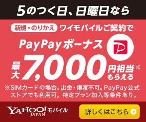 ワイモバイル ヤフーモバイル 5のつく日 日曜日 PayPay キャンペーン